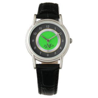 Relógio Monograma preto de prata verde-claro