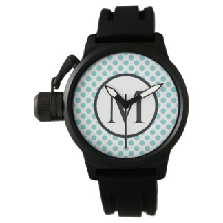 Relógio Monograma simples com bolinhas do Aqua