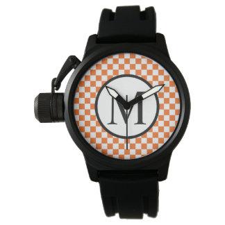 Relógio Monograma simples com tabuleiro de damas