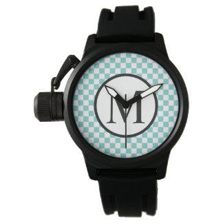Relógio Monograma simples com tabuleiro de damas do Aqua
