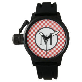 Relógio Monograma simples com tabuleiro de damas vermelho