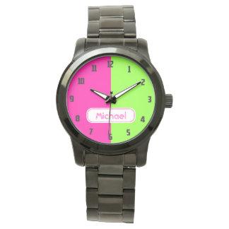 Relógio Monograma verde cor-de-rosa de néon brilhante