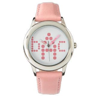 Relógio Monogrammed cor-de-rosa macio