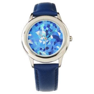 Relógio Mosaico azul e branco cristalizado moderno do