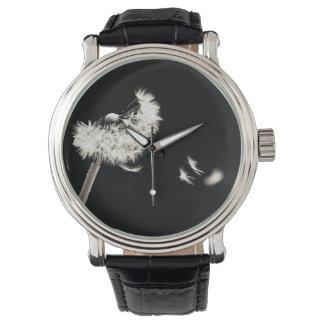 Relógio Mostra preto dente-de-leão preto e branco