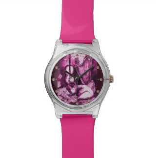 Relógio MÚSICA que FAZ CAT COM CORUJA, rosa roxo