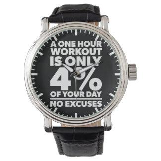 Relógio Nenhumas desculpas - esse nosso exercício é 4% de