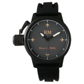 Relógio nome personalizado + estilo aero dos aviões das