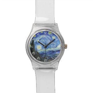 Relógio Numerais romanos de noite estrelado de VAN GOGH