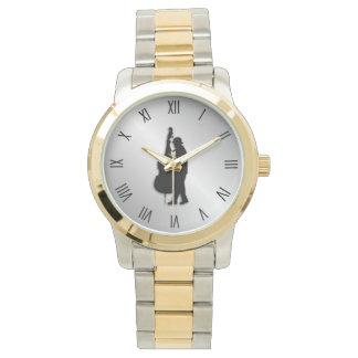 Relógio Numerais romanos do preto do músico do baixista
