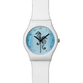 Relógio Números do preto azul dos cavalos marinhos