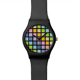 Relógio O arco-íris Pastel esquadra o preto