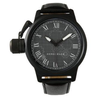 Relógio O engenheiro alinha o preto conhecido feito sob