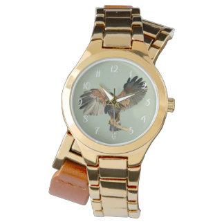 Relógio O Flapping do falcão voa a pintura da aguarela