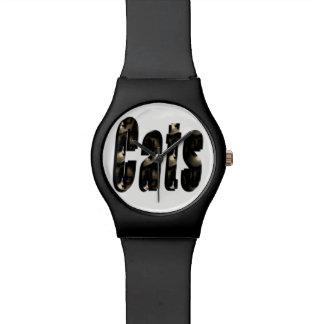 Relógio O logotipo dimensional do gato, senhoras pretas