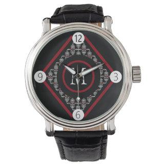 Relógio O monograma vermelho & branco com asiático