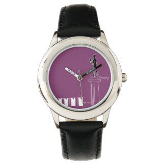 Relógio O néon de Belgrado Serbia colore moderno vibrante