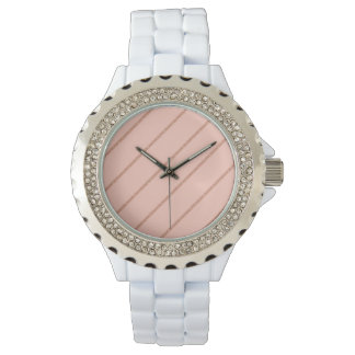 Relógio o pêssego pastel do brilho cor-de-rosa do ouro