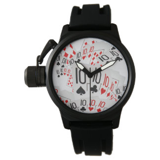 Relógio O póquer carda o teste padrão dos dez do