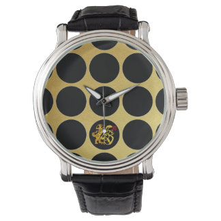 Relógio O preto do cão de Papercut do chinês do ouro