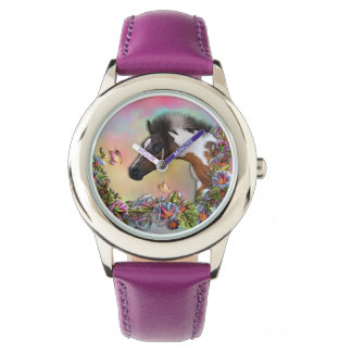 Relógio O roxo de aço inoxidável do potro & da borboleta