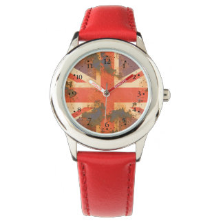 Relógio O vintage oxidou bandeira de Reino Unido