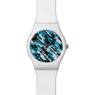 Relógio Olhe o digitalart abstrato azul e preto quente