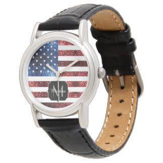 Relógio Os EUA embandeiram o vermelho e o azul sparkles