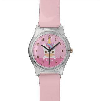Relógio Os miúdos bonitos das meninas do unicórnio do bebê
