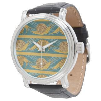 Relógio Ouro amarelo azul da cerceta do caracol do