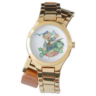Relógio Ouro dos DESENHOS ANIMADOS do URSO da TARTARUGA