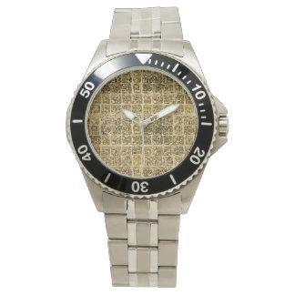 Relógio Ouro maia e asteca dos glyphs na textura do