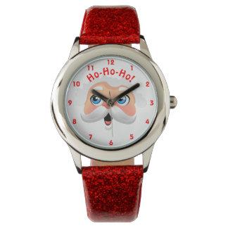 Relógio Papai Noel bonito com mordentes rosados