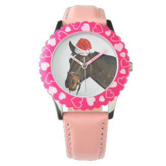 Relógio Papai noel do cavalo - cavalo do Natal - Feliz