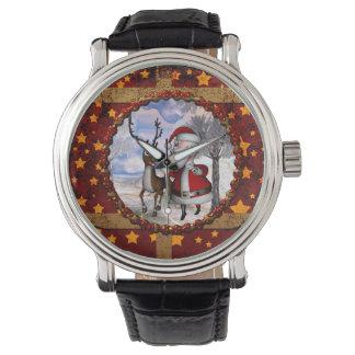 Relógio Papai Noel engraçado com rena