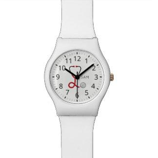 Relógio Para doutores e enfermeiras. Estetoscópio médico