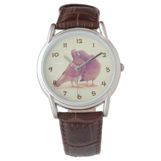 Relógio Pássaros retros do amor do pombo que beijam a foto
