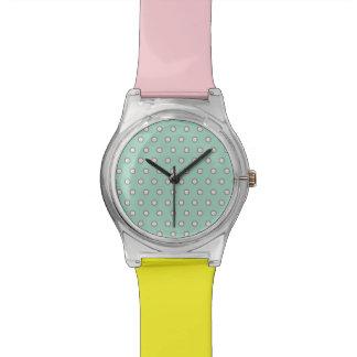 Relógio Pastel das bolinhas do vintage