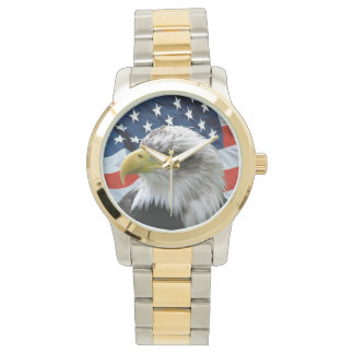 Relógio patriótico da bandeira americana da águia