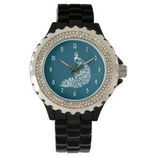 Relógio Pavão branco no design à moda chique do art deco