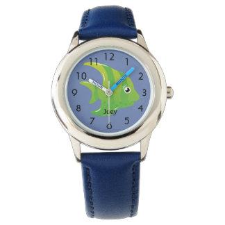 Relógio Peixes verdes do anjo na criança personalizada