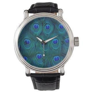 Relógio Pena parisiense do pavão do verde da cerceta do