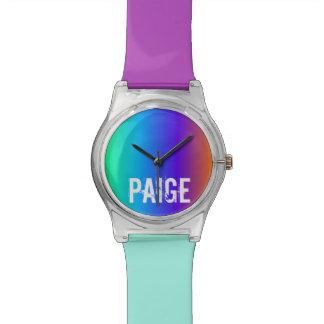 Relógio personalizado arco-íris