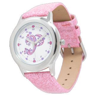 Relógio personalizado das meninas da letra P