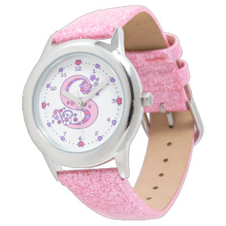 Relógio personalizado das meninas da letra S