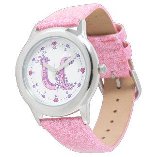 Relógio personalizado das meninas da letra U
