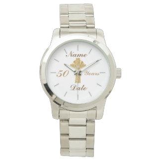 Relógio personalizado do jubileu 50th dourados do