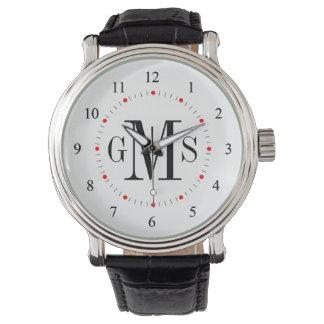 Relógio personalizado elegante do monograma dos