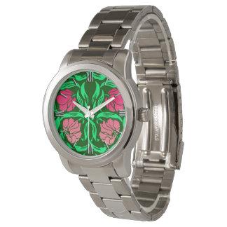 Relógio Pimpernel de William Morris, cor-de-rosa e verde