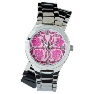 Relógio Pimpernel de William Morris, fúcsia & luz - rosa